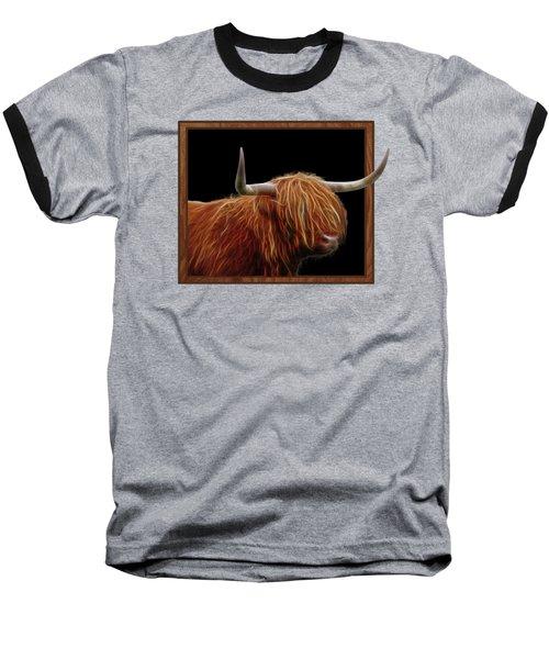 Bad Hair Day - Highland Cow - On Black Baseball T-Shirt by Gill Billington