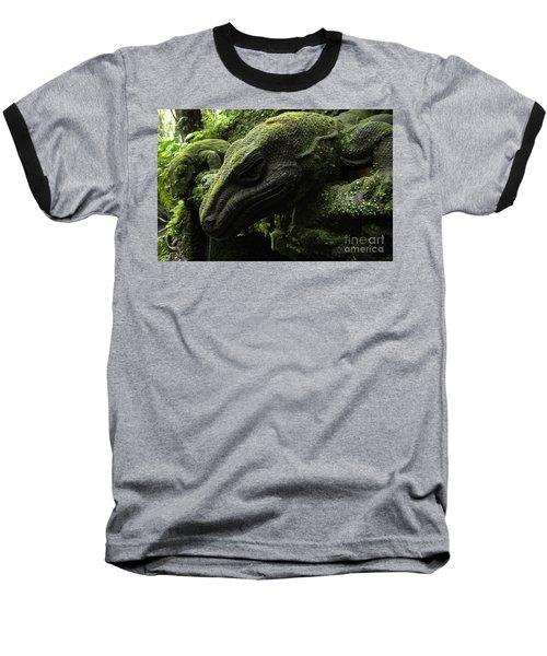 Bali Indonesia Lizard Sculpture Baseball T-Shirt by Bob Christopher