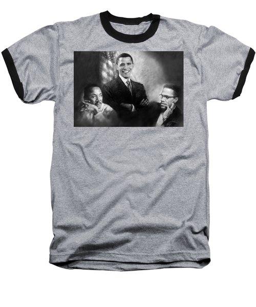 Barack Obama Martin Luther King Jr And Malcolm X Baseball T-Shirt by Ylli Haruni