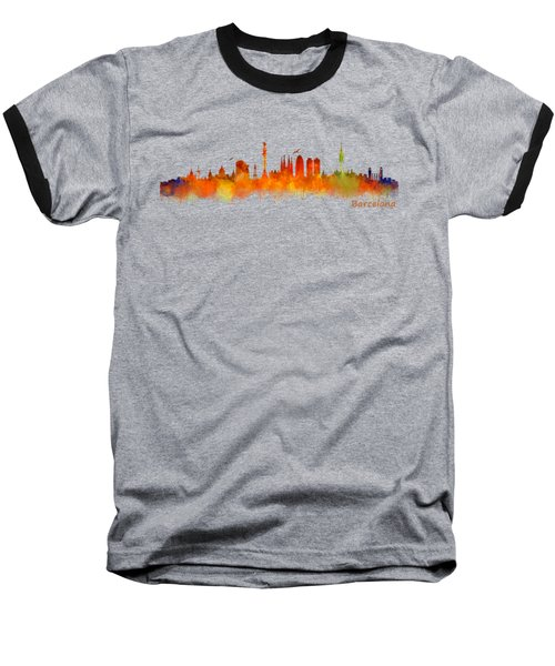 Barcelona City Skyline Hq V2 Baseball T-Shirt by HQ Photo