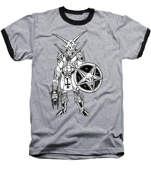Battle Goat Black Baseball T-Shirt by Alaric Barca