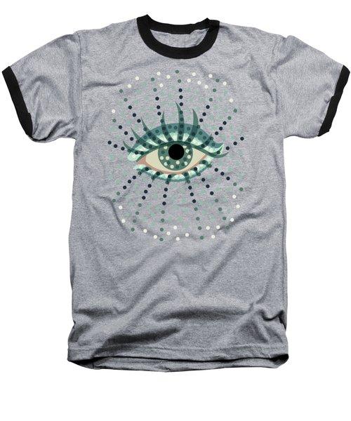 Beautiful Abstract Dotted Blue Eye Baseball T-Shirt by Boriana Giormova