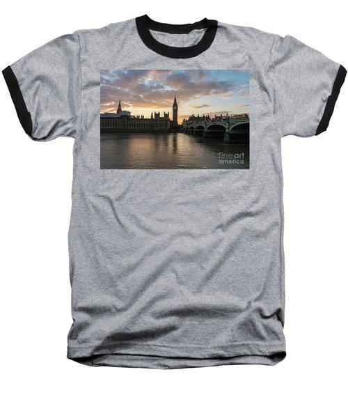 Big Ben London Sunset Baseball T-Shirt by Mike Reid