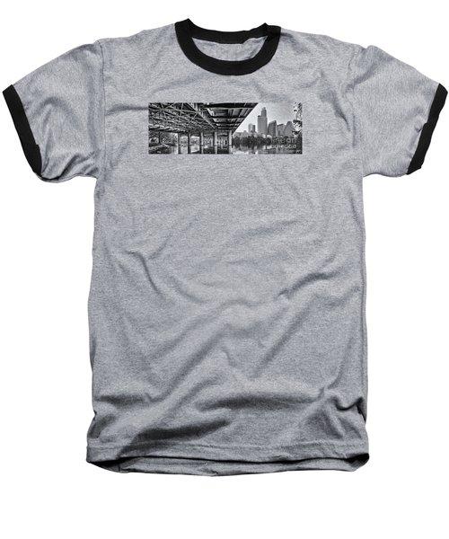 Black And White Panorama Of Downtown Austin Skyline Under The Bridge - Austin Texas  Baseball T-Shirt by Silvio Ligutti