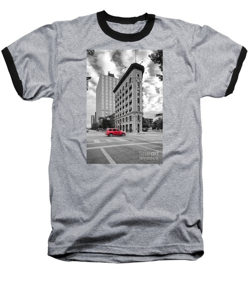 Black And White Photograph Of The Flatiron Building In Downtown Fort Worth - Texas Baseball T-Shirt by Silvio Ligutti