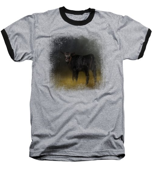 Black Angus Calf In The Moonlight Baseball T-Shirt by Jai Johnson