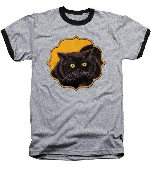 Black Cat Baseball T-Shirt by Anastasiya Malakhova