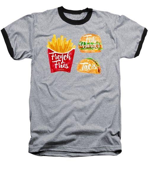 Black French Fries Baseball T-Shirt by Aloke Design