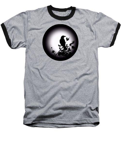 Blackbird In Silhouette  Baseball T-Shirt by David Dehner