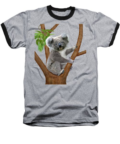 Blue-eyed Baby Koala Baseball T-Shirt by Glenn Holbrook