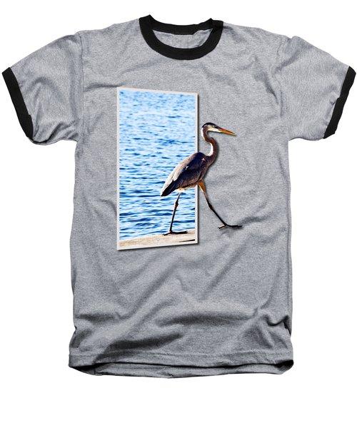 Blue Heron Strutting Out Of Frame Baseball T-Shirt by Roger Wedegis