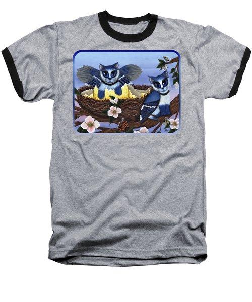 Blue Jay Kittens Baseball T-Shirt by Carrie Hawks