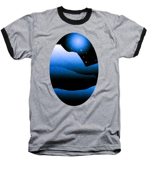 Blue Moon Mountain Landscape Art Baseball T-Shirt by Christina Rollo
