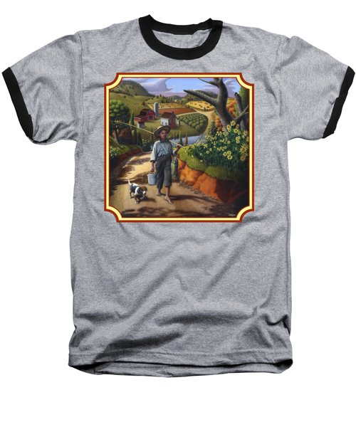 Boy And Dog Country Farm Life Landscape - Square Format Baseball T-Shirt by Walt Curlee