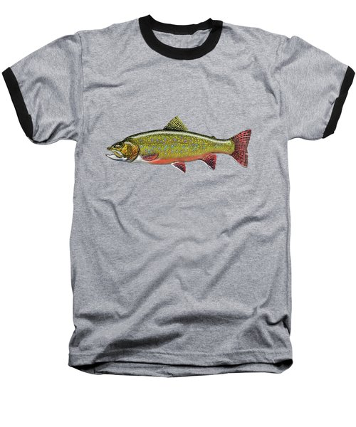 Brook Trout On Red Leather Baseball T-Shirt by Serge Averbukh