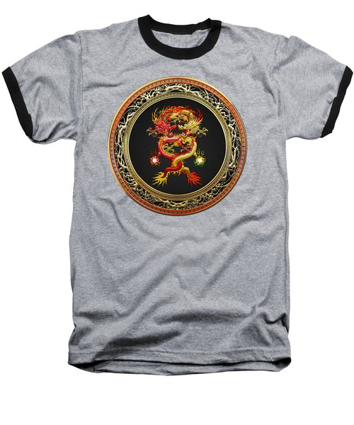 Brotherhood Of The Snake - The Red And The Yellow Dragons On Red Velvet Baseball T-Shirt by Serge Averbukh