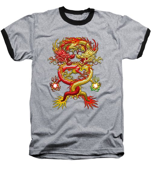 Brotherhood Of The Snake - The Red And The Yellow Dragons  Baseball T-Shirt by Serge Averbukh