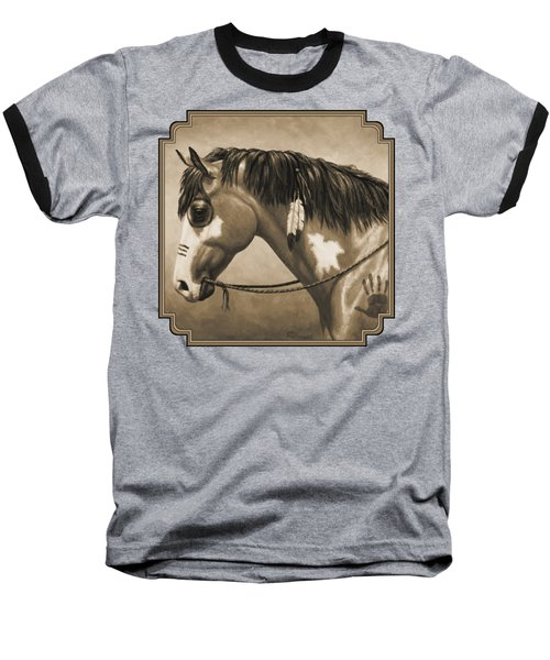 Buckskin War Horse In Sepia Baseball T-Shirt by Crista Forest