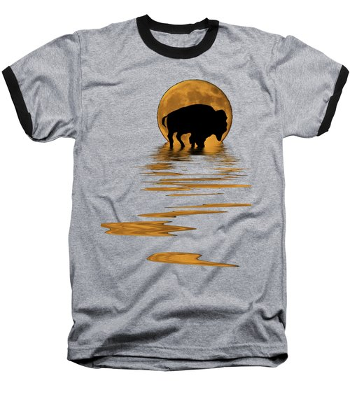 Buffalo In The Moonlight Baseball T-Shirt by Shane Bechler