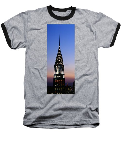 Building Lit Up At Twilight, Chrysler Baseball T-Shirt by Panoramic Images