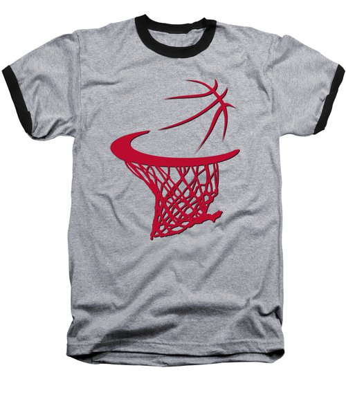 Bulls Basketball Hoop Baseball T-Shirt by Joe Hamilton