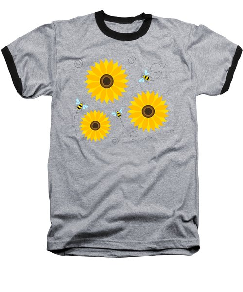Busy Bees And Sunflowers - Large Baseball T-Shirt by Shara Lee