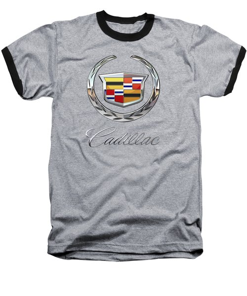 Cadillac - 3d Badge On Black Baseball T-Shirt by Serge Averbukh