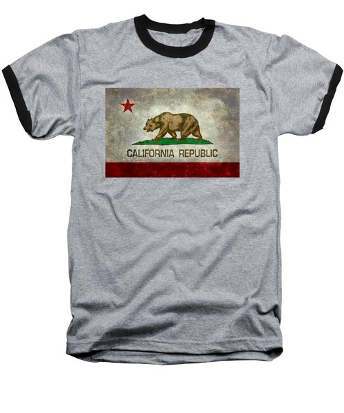 California Republic State Flag Retro Style Baseball T-Shirt by Bruce Stanfield