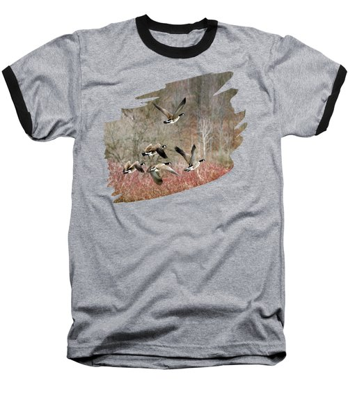 Canada Geese In Flight Baseball T-Shirt by Christina Rollo