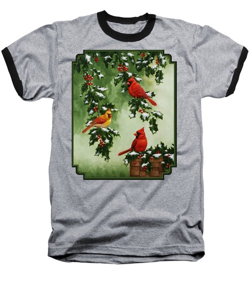 Cardinals And Holly - Version With Snow Baseball T-Shirt by Crista Forest