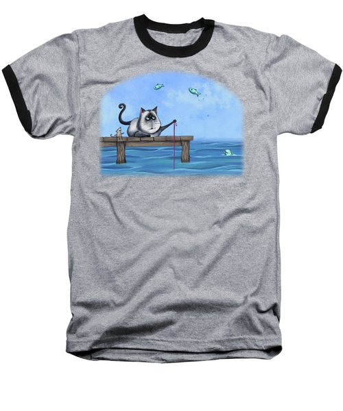 Cat Fish Baseball T-Shirt by Temah Nelson