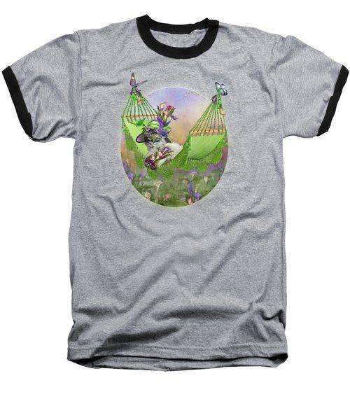Cat In Calla Lily Hat Baseball T-Shirt by Carol Cavalaris