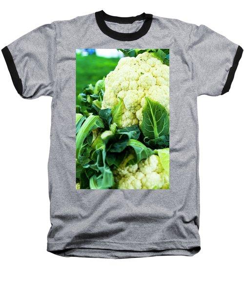 Cauliflower Head Baseball T-Shirt by Teri Virbickis