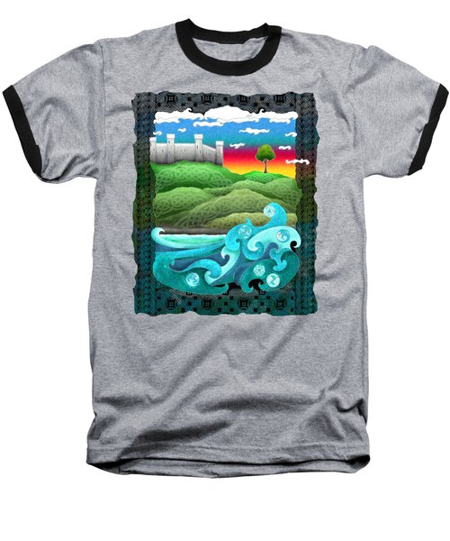 Celtic Castle Tor Baseball T-Shirt by Kristen Fox