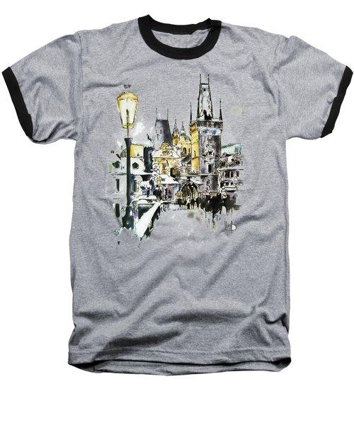 Charles Bridge In Winter Baseball T-Shirt by Melanie D