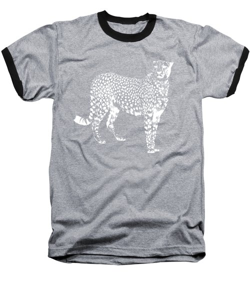 Cheetah Cut Out White Baseball T-Shirt by Greg Noblin