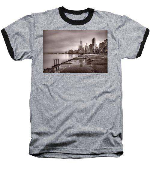 Chicago Foggy Lakefront Bw Baseball T-Shirt by Steve Gadomski