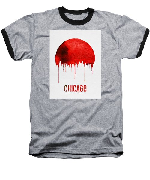 Chicago Skyline Red Baseball T-Shirt by Naxart Studio