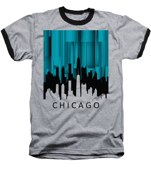 Chicago Turqoise Vertical Baseball T-Shirt by Alberto RuiZ