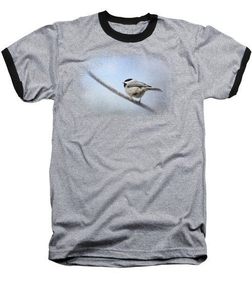 Chickadee In The Snow Baseball T-Shirt by Jai Johnson