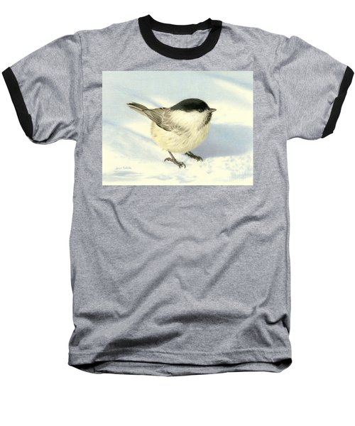 Chilly Chickadee Baseball T-Shirt by Sarah Batalka