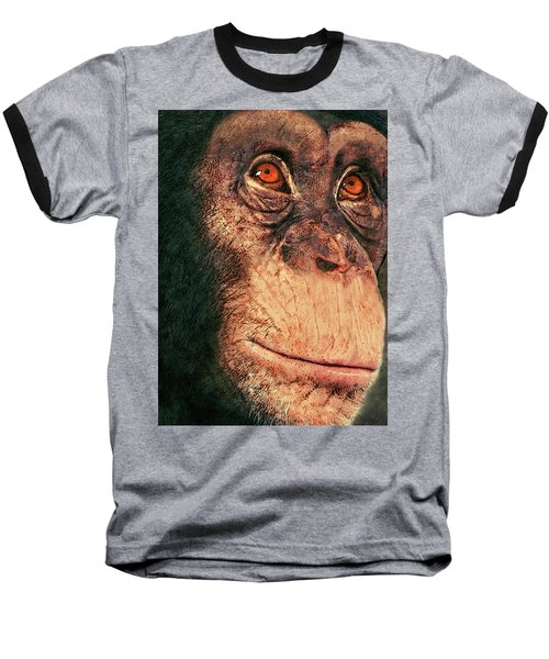 Chimp Baseball T-Shirt by Jack Zulli