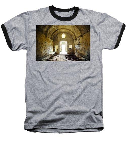 Church Ruin Baseball T-Shirt by Carlos Caetano