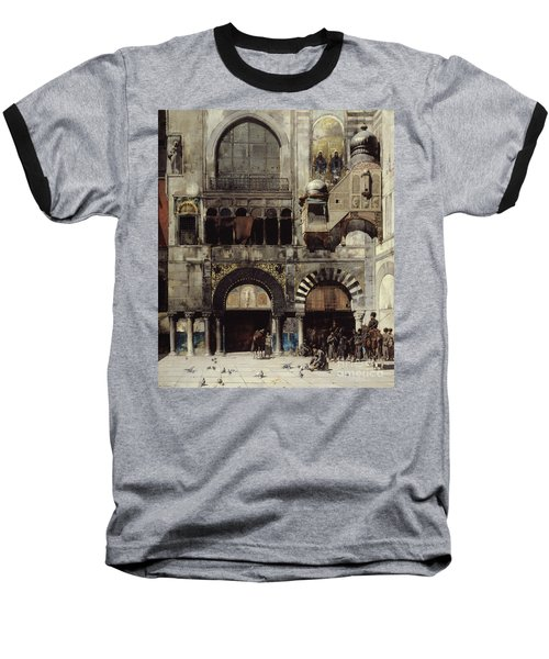 Circassian Cavalry Awaiting Their Commanding Officer At The Door Of A Byzantine Monument Baseball T-Shirt by Alberto Pasini
