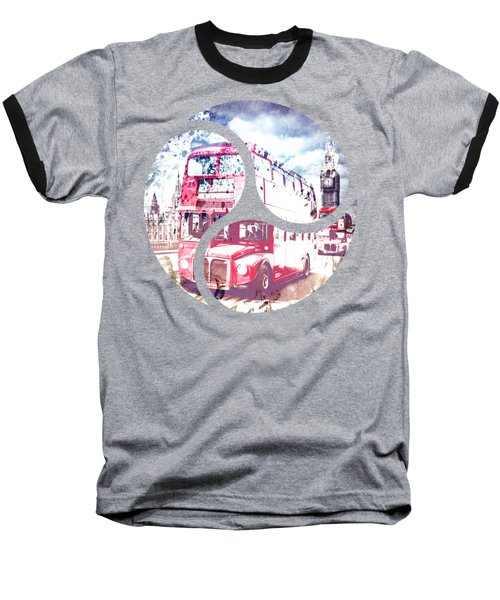 City-art London Red Buses On Westminster Bridge Baseball T-Shirt by Melanie Viola