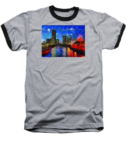 City Living - Tokyo - Skyline Baseball T-Shirt by Sir Josef Social Critic - ART