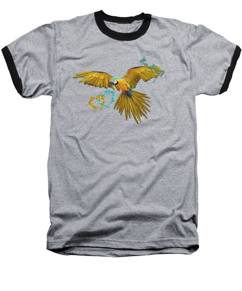 Colorful Blue And Yellow Macaw Baseball T-Shirt by iMia dEsigN