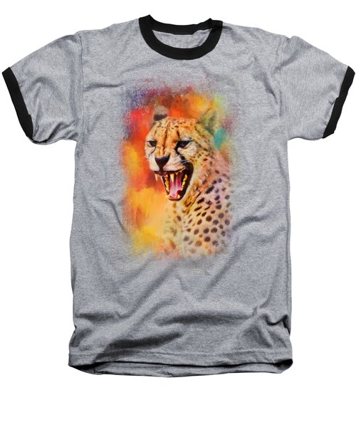 Colorful Expressions Cheetah 2 Baseball T-Shirt by Jai Johnson