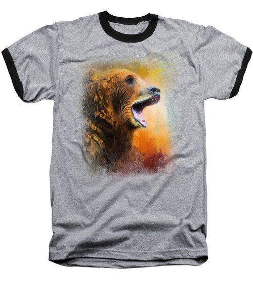 Colorful Expressions Grizzly Bear 2 Baseball T-Shirt by Jai Johnson