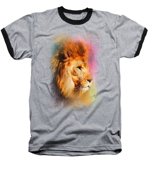 Colorful Expressions Lion Baseball T-Shirt by Jai Johnson